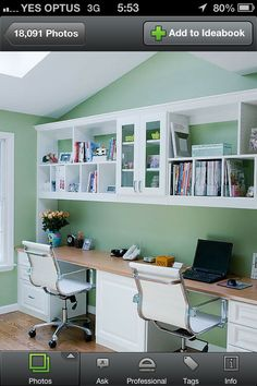 Home Office Design, Pictures, Remodel, Decor and Ideas - two person simple built in desk with cabinet space. Really like the chairs! Home Office Space, Home Office Design, Office Spaces, Kids Desk Space, Design Offices, Small Space Office, Workspace Design, Office Designs, Loft Design