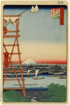 ©Utagawa Hiroshige - Cien famosas vistas de Edo. Primavera. Ilustración   xilografia   ukiyo-e