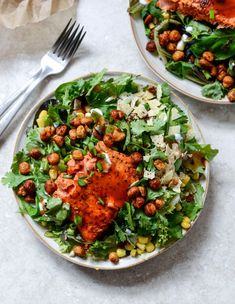 BBQ Salmon and Crispy Chickpea Salads with Greek Yogurt Ranch Drizzle | http://howsweeteats.com /how/ sweet eats