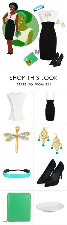 """""""Disney University Tiana by Hyung86"""" by alara-cary ❤ liked on Polyvore featuring Disney, Finders Keepers, Alice + Olivia, Kevin Jewelers, Harrison Morgan, Topshop, Comme des Garçons and Pottery Barn"""