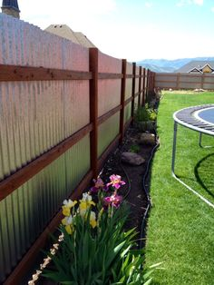 corrugated fence. they did some clear plastic panels for next to the garden