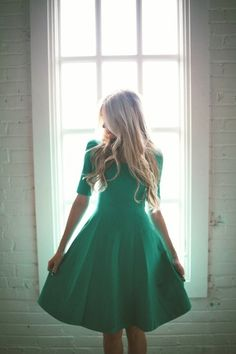 Emerald green dress. Classic and lovely.