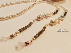 Two-tone pearl glass cord - Pia Beaded Jewelry, Beaded Bracelets, Eyeglass Holder, Eyeglasses, Jewelery, Band, Chain, Creema, Eyeglass Holder Stand