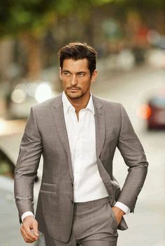 pewter gray suit. crisp. white oxford. simple. sexy.