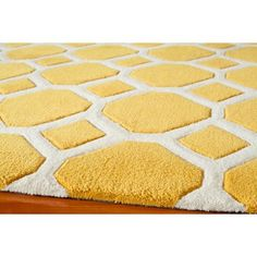 Great graphic rug in gold and cream....will brighten up any room. #Doodlefish