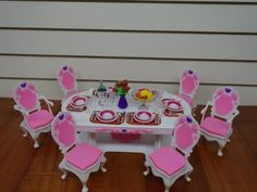 Barbie Size Deluxe Dinning Room Set w/  6 Chairs | For Kids Over 3 Yrs Old | Doll Not Included | $16.19