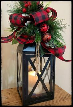 Candle Lantern, Buffalo Plaid Christmas Decor, Lantern Christmas Swag, Lantern Centerpiece, Buffalo
