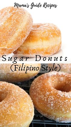 Who doesn't love a fresh and warm sugar donuts? Start frying some sugar doughnuts today. These yeast-raised doughnuts are soft, fluffy and so easy to do. You can sprinkle sugar, fill it with whipped cream, jam or even fill it with nutella. Easy Donut Recipe, Sugar Doughnut Recipe, Fresh Donut Recipe, Chinese Sugar Donuts Recipe, Homemade Donuts Recipe From Scratch, Fluffy Donut Recipe, Chinese Donuts, Homemade Recipe, Bread Recipes
