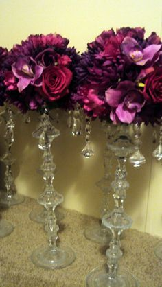 ** Thriftcycled Glass Candlesticks Glued Together And Embellished With Silk Flowers Topiary Style Decoration  @weddingbee