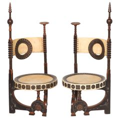 Carlo Bugatti Pair of Chairs,Milano, c.1898 | From a unique collection of antique and modern chairs at http://www.1stdibs.com/furniture/seating/chairs/