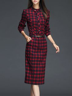 #AdoreWe #StyleWe Dresses - ROEYSHOUSE Red Sheath Elegant Checkered/Plaid Midi Dress - AdoreWe.net