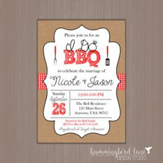 I Do BBQ Wedding Shower Invitation 5x7  - Digital Invitations or Professionally Printed by us! Barbecue, Barbeque, Couples Shower,
