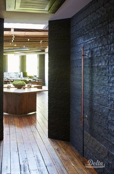 The Cevian Design Lab in Rome, GA used our Accoya Hand Hewn Gator wood. Learn more about our burnt wood flooring, paneling, siding and more today! Winery Tasting Room, Accent Wall Designs, Tiny House Exterior, Charred Wood, Oak Panels, Wood Interior Design, Cool Doors, Timber Cladding, Wood Interiors