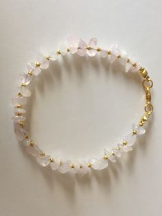 Excited to share this item from my shop: Rose Quartz gemstone chip bead bracelet Bead Jewellery, Crystal Jewelry, Gemstone Jewelry, Beaded Jewelry, Beaded Bracelets, Quartz Jewelry, Gold Jewelry, Pulseras Kandi, Handmade Wire Jewelry