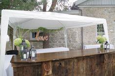 Outdoor rustic bar at charming August 2017 wedding 2017 Wedding, Wedding Rentals, Rustic, Bar, Weddings, Outdoor, Bodas, Outdoors, Hochzeit