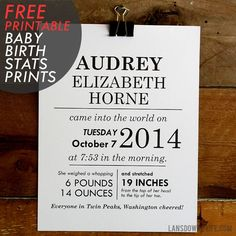 FREE printables: Baby birth stats wall art - Lansdowne Life