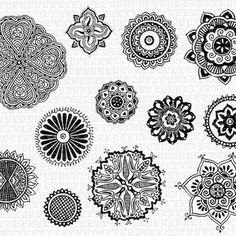 Mandalas Mehndi Decorative Henna Tattoo Hindu Design Motifs Vintage Clip Art Illustration HQ 300dpi Digital Printable Image Graphic. Img1575