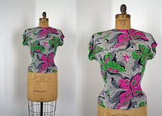 1940s Blouse  Vintage 40s Top  Surreal Novelty by jumblelaya