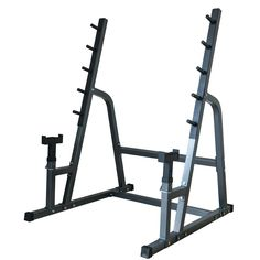 Akonza Deluxe Squat/Bench Combo Rack Fitness Exercise Equipment Safety Multiple Function Set. 5 position squat rack, then slide your bench under the bar support and work on sculpting pectorals. Can be used as a solo squat rack or in conjunction with a utility bench (not included) for incline, flat bench exercises as well as military press. Adjustable spotter stands are perfect for both squats and bench press. 4 Rubber Base caps not only provide protection for your flooring. Turn any room...