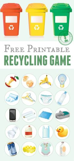 Free printable recycling game for kids. Just print the template, cut the tokens and play! Good for introducing the recycling basics and also as an Earth day activity for kids.
