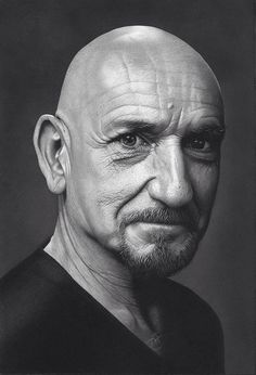 Hyper realistic portrait of Ben Kingsley by mark stewart Charcoal and graphite Famous Men, Famous Faces, Famous People, Ben Kingsley, Celebrity Portraits, Black And White Portraits, Interesting Faces, Male Face, Best Actor