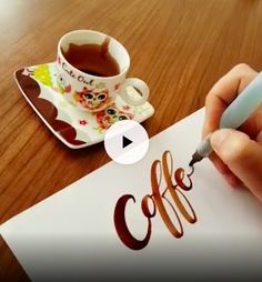 hand lettering coffee write with glue calligraphy bujo bulletjournal - Bullet Journal & Scrapbooking - Calligraphy Video, Calligraphy Letters, Calligraphy Doodles, Creative Lettering, Brush Lettering, Diy And Crafts, Arts And Crafts, Diy Art, Amazing Art