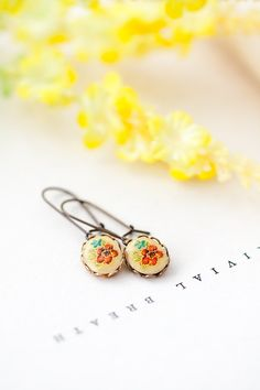 Easter candle handmade easter candle decorated candle greek easter floral earrings vintage style red and green flower earrings bridesmaid jewelry mothers day bff birthday gift for her under 10 dollars negle Images