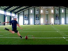 Ram's punter, John Hekker, kicks a 75 yard punter into a basketball hoop.