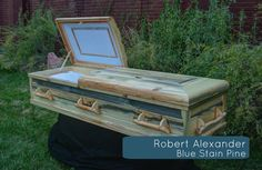 This is proof that our blue stain pine looks good anywhere, any way! Creative Beds, Funeral Sprays, Stain On Pine, Blue Stain, Casket, Handmade Wooden, Coffin, Wood Crafts, Just In Case