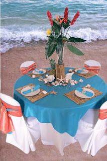 .Table on the beach