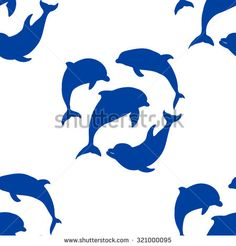 Vector illustration. Seamless pattern of dolphins - stock vector