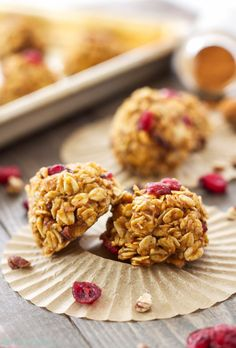Easy to make pumpkin cookies full of oats, pumpkin puree, dried cranberries, and pecans! A tasty no bake cookie you can feel good about eating!
