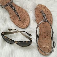 Cole Haan Sandal Perfect cork bottom. Snake print. Buckle design. Style name is Roccia. One tiny string on top of right shoe, seen in last photo. Offers welcome through offer tab. No trades. 31916250 Cole Haan Shoes Sandals