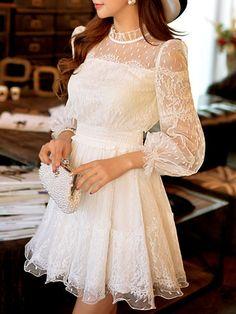 #AdoreWe #StyleWe Mini Dresses - DABUWAWA White Stand Collar Balloon Sleeve Nylon Mini Dress - AdoreWe.com