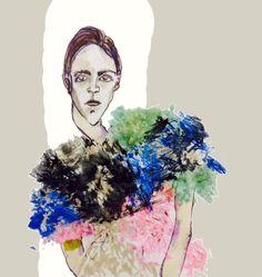Fashion illustration of a Leutton Postle garment by Helen Bullock