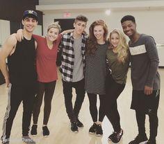 Trevor (James), Brittany (Riley), Myles (Noah), Jordan (Giselle), Briar (Richelle), and Lamar (West) on The Next Step