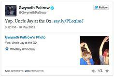 """Pin for Later: Gwyneth Paltrow ist also """"eine von uns""""? Als ihre Kinder Jay-Z """"Onkel"""" nannten Wer bitte hat so einen coolen Onkel? Source: Twitter user GwynethPaltrow"""