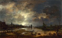 A River near a Town, by Moonlight Aert van der Neer b. Oil on panel. The National Gallery, London. World Famous Paintings, Famous Art, National Gallery, Dutch Golden Age, Dutch Painters, Painting Wallpaper, Art Uk, Winter Landscape, Landscape Paintings