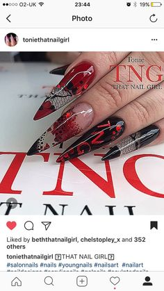 Encapsulated lace ❤️ black n red ❤️ stiletto acrylic nails ❤️ Tonie That Nail Girl ❤️