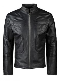 Mens Biker Piping Leather Jacket