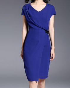 #AdoreWe #VIPme (VIPSHOP Global) missshine Blue V Neck Sheath Bodycon Midi Dress - AdoreWe.com