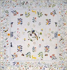 Crewelwork Coverlet American 18th Century