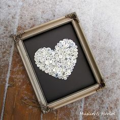 DIY vintage button heart valentines day craft