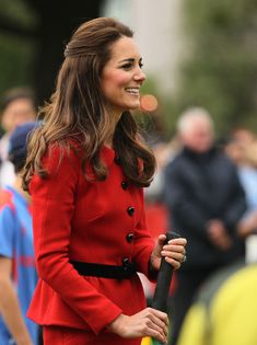 Catherine, Duchess of Cambridge batting during a game of cricket during the countdown to the 2015 ICC Cricket World Cup at Latimer Square on April 14, 2014 in Christchurch, New Zealand.