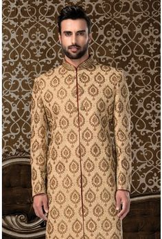 Wedding Sherwani-Gold-Bead Work-SH224