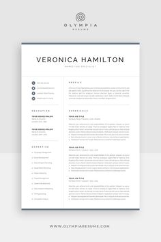 Resume template for a modern and professional job application. Save time with an easy-to-use template, and make your resume stand out with a clean and polished design. Cover Letter Tips, Cover Letter For Resume, Cover Letter Template, Letter Templates, One Page Resume Template, Modern Resume Template, Creative Resume Templates, Creative Cv, Resume References
