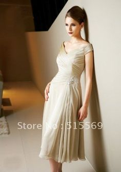 2013 New Elegant A Line Tea Length Chiffon V Neck Ruffles Champagne Mother Of The Bride Dress on AliExpress.com. 10% off $113.40