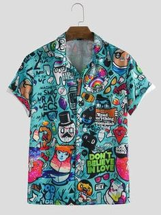 Mens Long Swim Shorts, Casual Shirts, Casual Outfits, Fashion Outfits, Men Fashion, Beige Pants Mens, Mens Printed Shirts, Men's Shirts, Royal Blue T Shirt