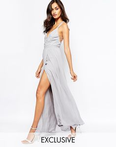 Fame and Partners Deco Siren Wrap Front Cami Strap Maxi Dress With Thigh Split