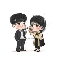 While you were sleeping Cute Couple Art, Anime Love Couple, Fanarts Anime, Anime Chibi, Weightlifting Fairy Wallpaper, W Two Worlds Wallpaper, Kdrama, Anime Love Story, Korean Drama Movies